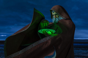 Wizard with Green Disk Spell