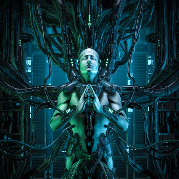 The quantum zen king / 3D illustration of male android hardwired to computer core