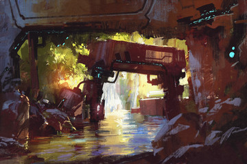PA Robot and Waterfall