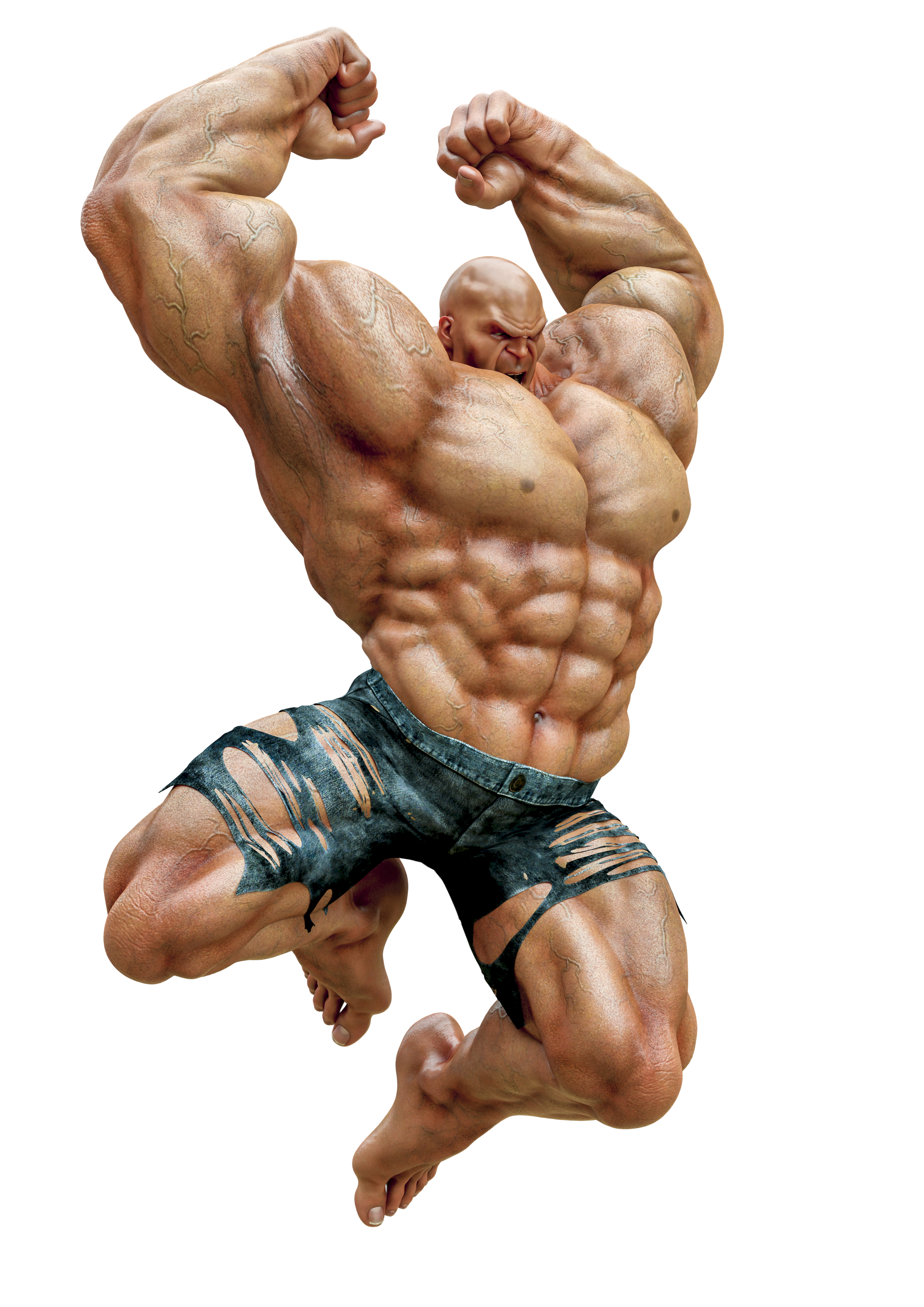 super muscleman will smash your face in a white background